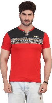 Purple Haze Geometric Print Men's Henley Red T-Shirt