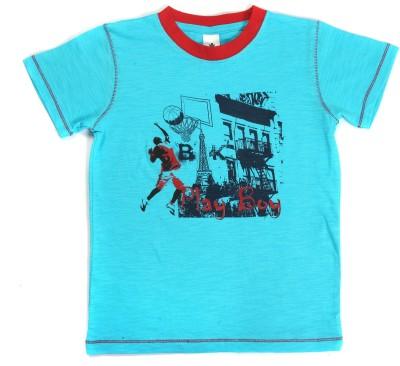 Bio Kid Printed Boy's Round Neck Blue T-Shirt