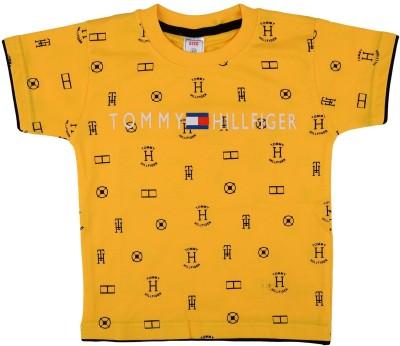 NavyaRiti Printed Boy's Round Neck Yellow T-Shirt