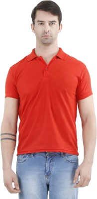 Tej Star Solid Men's Polo Neck Red T-Shirt