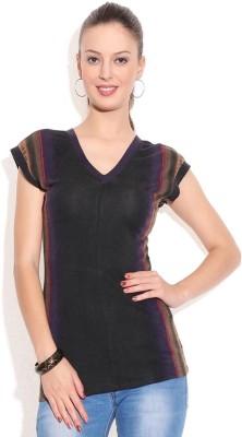 Remanika Printed Women's V-neck Black T-Shirt