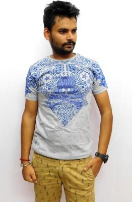Indiano Printed Men,s Round Neck Grey T-Shirt