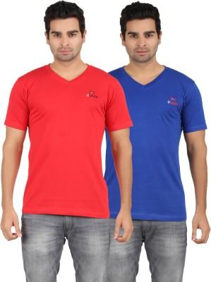 U Lead Solid Men's V-neck Red, Blue T-Shirt