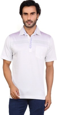Valeta Printed, Solid Men's Polo Neck White T-Shirt