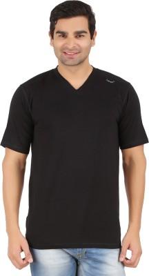 Lavos Solid Men's V-neck Black T-Shirt