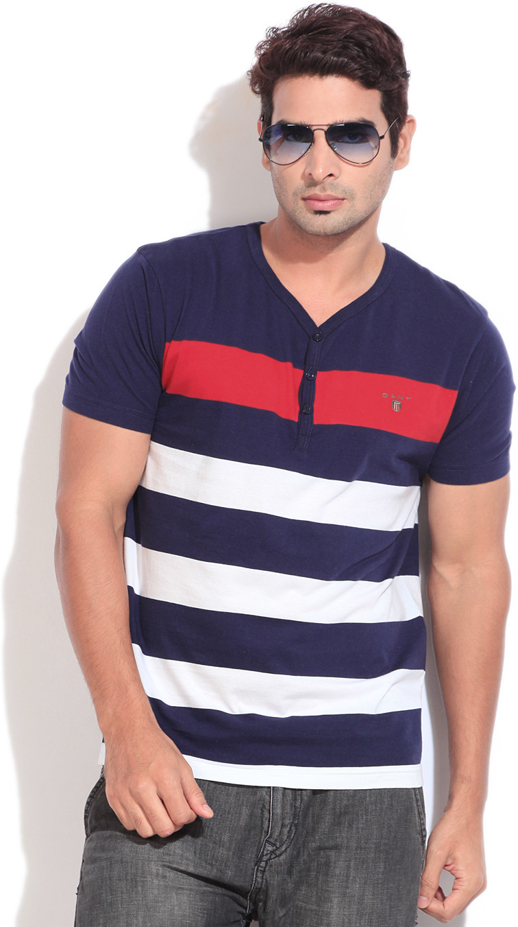 Gant Striped Mens Henley Blue, White T-Shirt