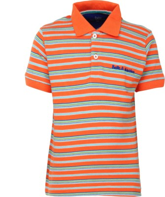Bells and Whistles Striped Boy's Polo Orange T-Shirt