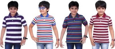 Dongli Striped Baby Boy's Polo Neck Purple, Blue, Dark Blue, Maroon T-Shirt