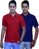 Blaze Solid Men's Polo Neck Red, Blue T-...