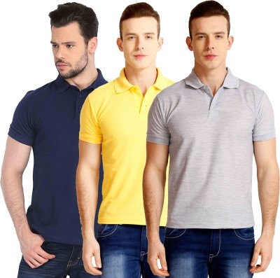 Faded Finch Solid Men's Polo Neck Dark Blue, Yellow, Grey T-Shirt