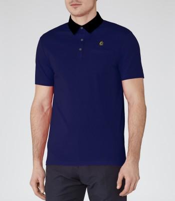 Hi Bro Solid Men's Polo Neck Dark Blue T-Shirt
