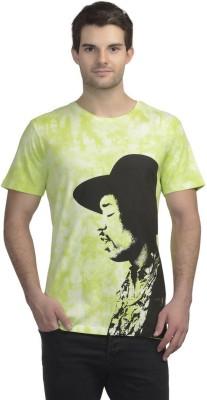 Jimi Hendrix Printed Men's Round Neck Yellow T-Shirt