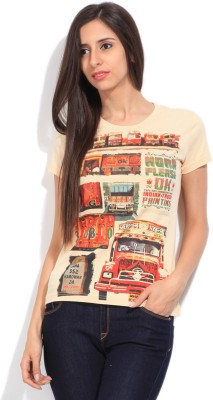 STYLE QUOTIENT BY NOI Printed Women's Round Neck Orange T-Shirt