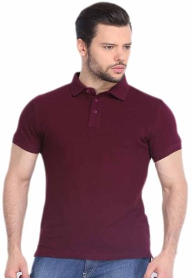 DoubleF Solid Men's Polo Neck Maroon T-Shirt