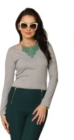Miss Chase Women's Clothing - Miss Chase Solid Women's Round Neck Grey T-Shirt
