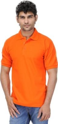 Larwa Solid Men's Polo Neck Orange T-Shirt
