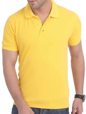 DiscountGod Solid Men's Polo Neck Yellow T-Shirt