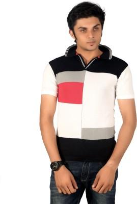 A33 Store Checkered Men's Flap Collar Neck Multicolor T-Shirt
