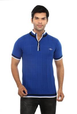 GOT IT Checkered Men's Flap Collar Neck Blue T-Shirt