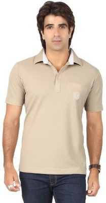 Valeta Solid Men's Polo Neck Beige T-Shirt