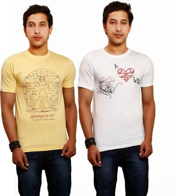 Yaari V4c Printed Men's Round Neck Yellow, White T-Shirt