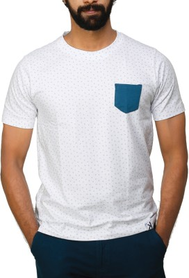 UnKonventional Polka Print Men's Round Neck White, Green T-Shirt