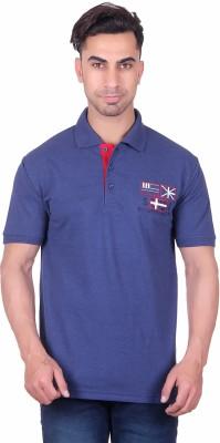 Deutz Solid Men's Polo Neck Blue T-Shirt