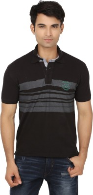 Keewi Solid Men's Polo Neck Black, Grey T-Shirt