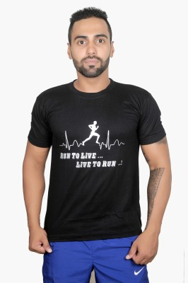 Boxrox Fitness Printed Men's Round Neck Black T-Shirt