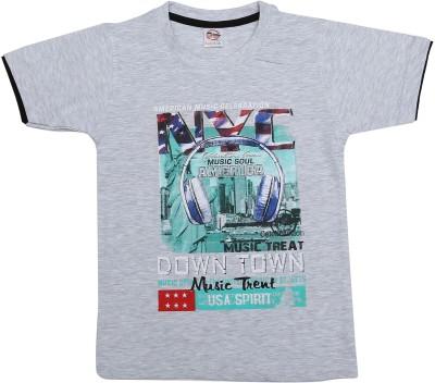 Kyle Graphic Print Baby Boy's Round Neck Grey T-Shirt