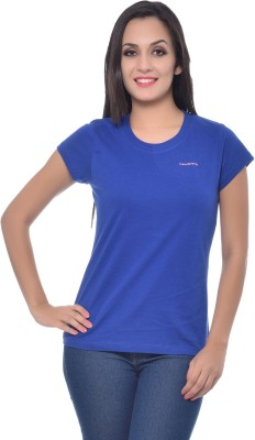 Frenchtrendz Solid Women,s Round Neck Dark Blue T-Shirt