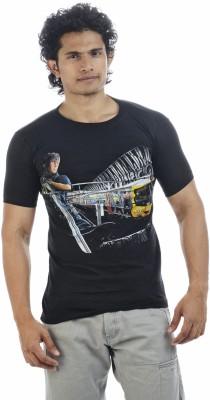 Adventure Printed Men's Round Neck Black T-Shirt