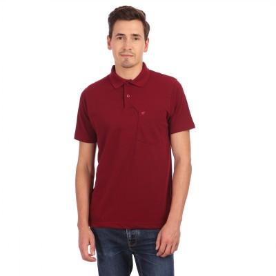 Neva Solid Men's Polo Neck Maroon T-Shirt