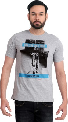 Urban Republic Printed Men's Round Neck Grey T-Shirt