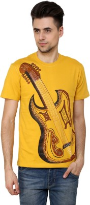 Rang Rage Animal Print Men's Round Neck Yellow T-Shirt