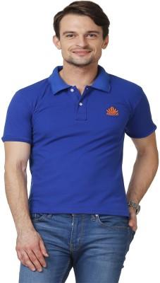 ABLOOM Solid Men's Polo Neck Blue T-Shirt