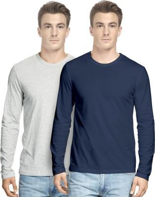 Hueman Solid Men's Round Neck Multicolor T-Shirt