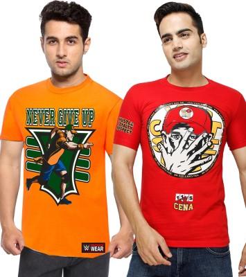 WWE Printed Men's Round Neck Orange T-Shirt