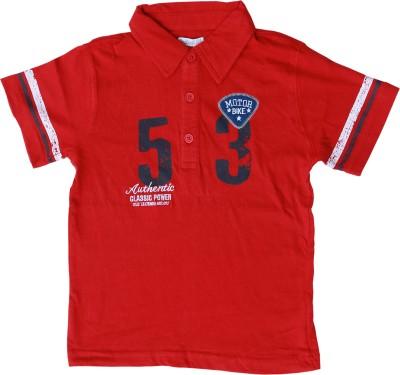 Milou Self Design Boy's Polo Neck Red T-Shirt
