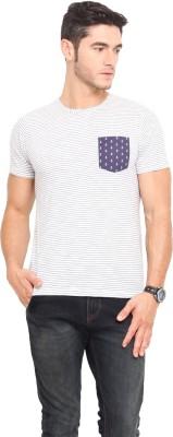 Northern Lights Striped Men's Round Neck White, Blue T-Shirt