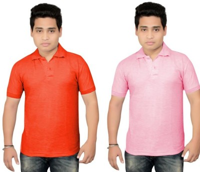 BrandTrendz Solid Men's Polo Neck Red, Pink T-Shirt