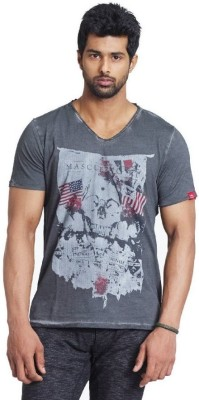 Fashnopolism Solid Men's V-neck Grey T-Shirt