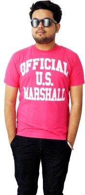 Parv Collections Printed Men's Round Neck Pink T-Shirt