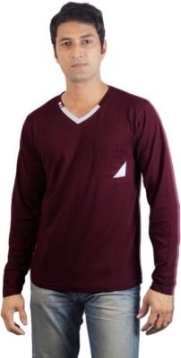 Vagga Solid Men's V-neck Maroon T-Shirt