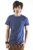 Srota Solid Men's Round Neck Dark Blue T...
