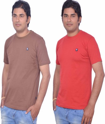 LEAF Solid Men's Round Neck Red, Brown T-Shirt