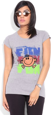 Mr. Men Little Miss Printed Women's Round Neck Grey T-Shirt