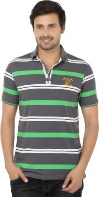 Q-Plus Striped Men's Polo Neck Grey, Green T-Shirt