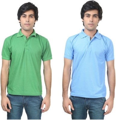 Stylish Trotters Solid Men's Polo Light Green, Light Blue T-Shirt