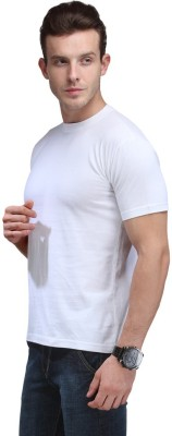 Fashion World Solid Men's Round Neck Black, White T-Shirt